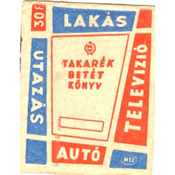 Gyufacímke reklámozza a betétkönyveket, forrás: retronom